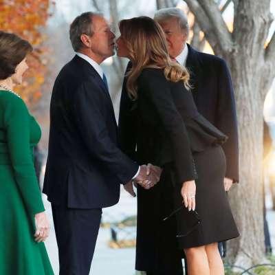 Trump visita a la familia Bush antes del funeral de George H. W. Bush