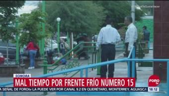 Frente frío número 15 desploma los termómetros en Sonora