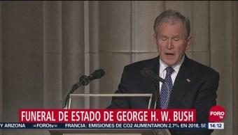 George W. Bush ofrece emotivo mensaje en el funeral de su padre