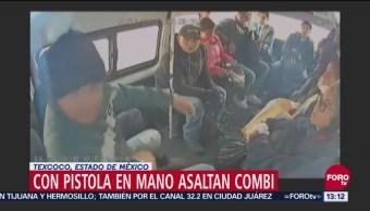 Graban asalto a mano armada en combi de Texcoco