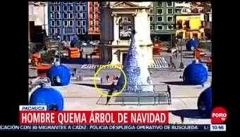 Hombre Quema Enorme Árbol De Navidad En Pachuca, Hombre Quema Árbol De Navidad, Pachuca, Hidalgo, Explanada Del Reloj Monumental