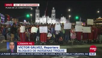 Indígenas Triquis Realizan Bloqueo Zócalo Cdmx