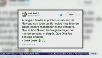 José José dedicó un mensaje a sus seguidores con motivo de las fiestas decembrinas, en el que aseguró que se encuentra bien de salud