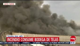 Incendio Consume Bodega Telas Toluca Edomex
