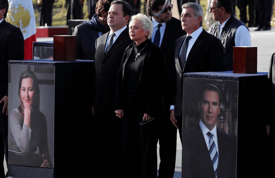 La secretaria de Gobernación, Olga Sánchez Cordero durante funeral de Estado en Puebla. (AP)