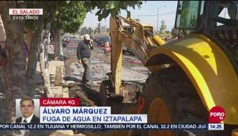 Autoridades reparan fuga de agua en Iztapalapa