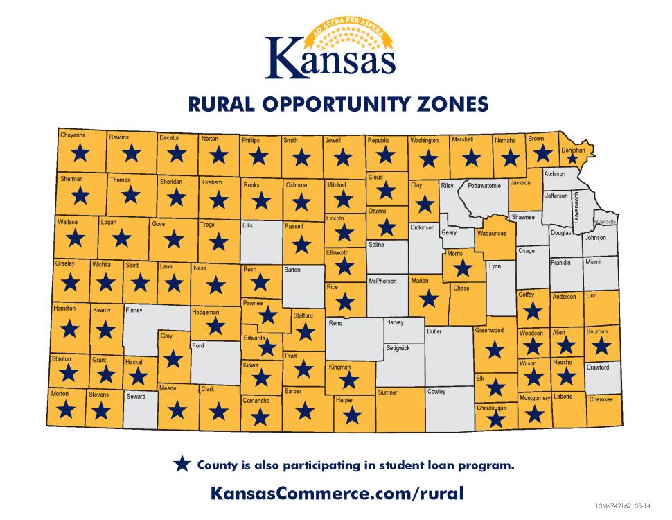 Los condados de Kansas que tienen una estrella en este mapa participan en el programa de ayuda para el pago de préstamos estudiantiles (KansasCommerce)