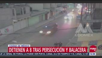 Ocho personas detenidas durante perecuación y balacera en el Valle de México