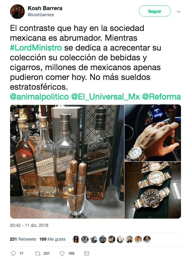 Otros ciudadanos hicieron énfasis en los contrastes socioeconómicos que existen en México, apodando a Serrano como LordMinistro (Twitter @koshbarrera)