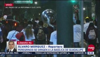 Peregrinos avanzan hacia la Basílica de Guadalupe