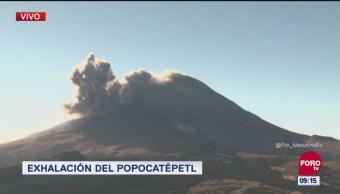 Se registra exhalación en el volcán Popocatépetl