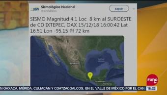 Registra Sismo Magnitud 4.1 En Oaxaca