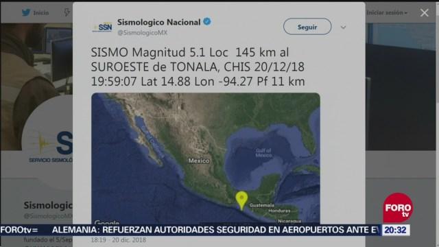 sismo de magnitud 5 1 sacude chiapas