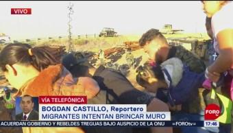 Migrantes hondureños intentan cruzar la frontera