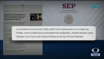 Traslado de la SEP a Puebla será gradual, dice Esteban Moctezuma