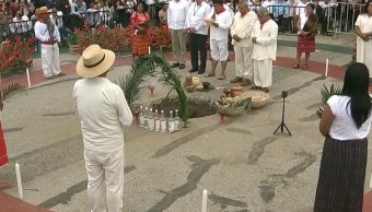 AMLO encabeza ritual a la Madre Tierra para aprobación del Tren Maya