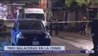 Tres balaceras en la CDMX dejan al menos dos hombres muertos