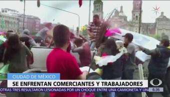 Triquis y policías CDMX se enfrentan por comercio ambulante