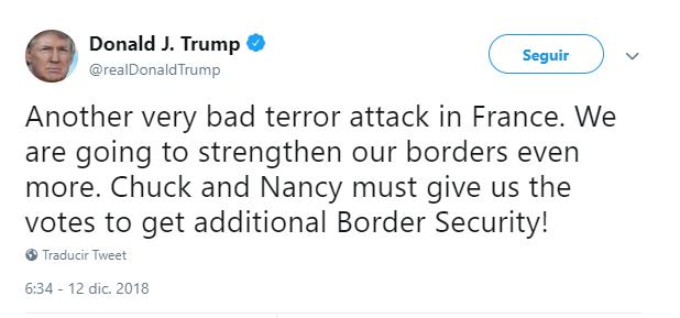 Trump insiste nuevamente en muro fronterizo. (@realDonaldTrump)