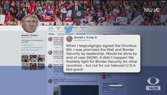 Trump Se Niega A Firmar Dictamen Para Evitar Cierre De Gobierno, Donald Trump, Construcción Del Muro