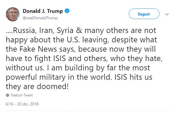 Trump tuitea sobre el retiro de sus tropas de Siria. (@realDonaldTrump)