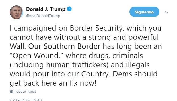 Trump reitera que sí quiere muro de concreto en frontera con México