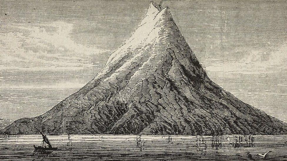 Un dibujo del volcán Krakatoa realizado en 1883, antes de una catastrófica erupción (GettyImages)