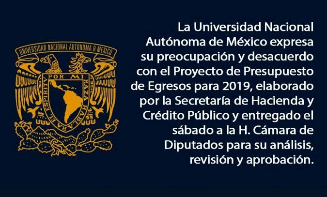 UNAM expresó su preocupación en Twitter. (@UNAM_MX)