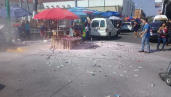 Conato de incendio en puesto semifijo de pirotecnia en Tapachula, Chiapas