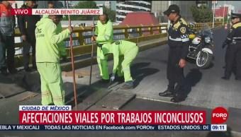 Afectaciones viales por trabajos inconclusos en la Benito Juárez