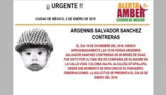 Alerta Amber para localizar a Argennis Salvador Sánchez