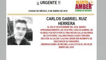 Alerta Amber para localizar a Carlos Gabriel Ruiz Herrera