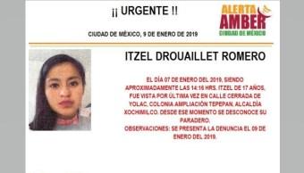 Alerta Amber para localizar a Itzel Drouaillet