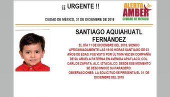 Alerta Amber para localizar a Santiago Aquiahuatl Fernández