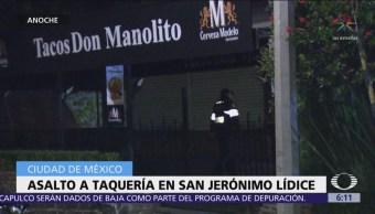 Asaltan taquería en San Jerónimo Lídice