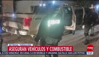 Foto, 26 enero 2019, Aseguran autos y combustible en Reynosa, Tamaulipas
