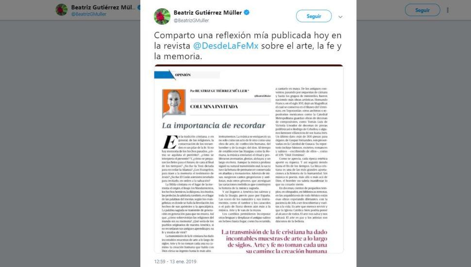 Beatriz Gutiérrez Müller escribe columna en 'Desde la Fe'