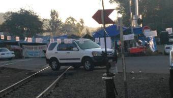 Foto: Bloqueos de CNTE en vías de tren en Michoacán, el 21 de enero 2019