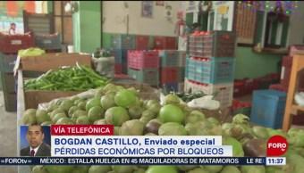 Foto, 26 enero 2019, Bloqueos en Michoacán dejan pérdidas millonarias en industrias