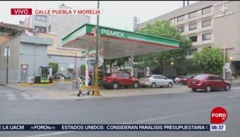 Capitalinos hacen fila para cargar gasolina este sábado