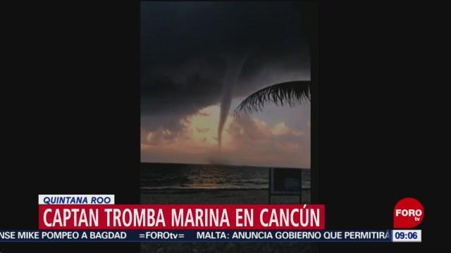 Captan video de tromba marina en Cancún