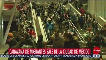 Caravana de migrantes sale de la CDMX; usan Metro con tarifa menor