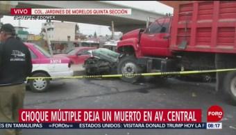 Choque múltiple deja un muerto en Avenida Central de Ecatepec, Edomex