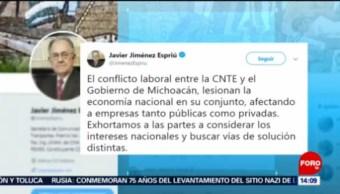 Foto:Conflicto entre CNTE y Michoacán lesiona economía nacional: Jiménez Espriú, 27enero 2019