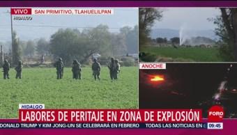 Continúan labores de peritaje en zona de explosión en Tlahuelilpan