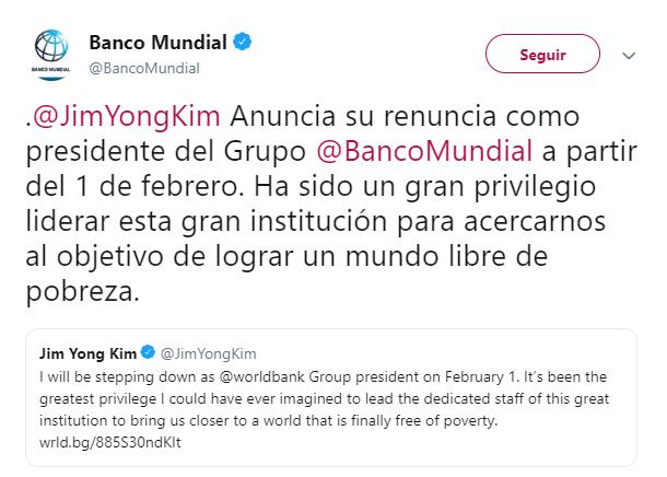 El Banco Mundial anuncia la renuncia de su presidente. (@BancoMundial)