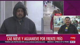 En Chihuahua cae nieve y agua nieve por frente frío 26