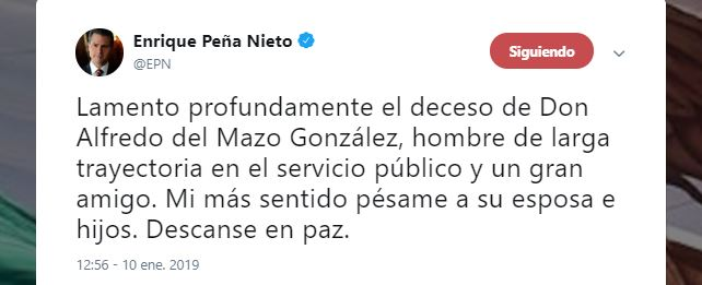 EPN lamenta fallecimiento de Don Alfredo del Mazo