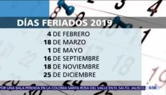 Estos son los días festivos del 2019