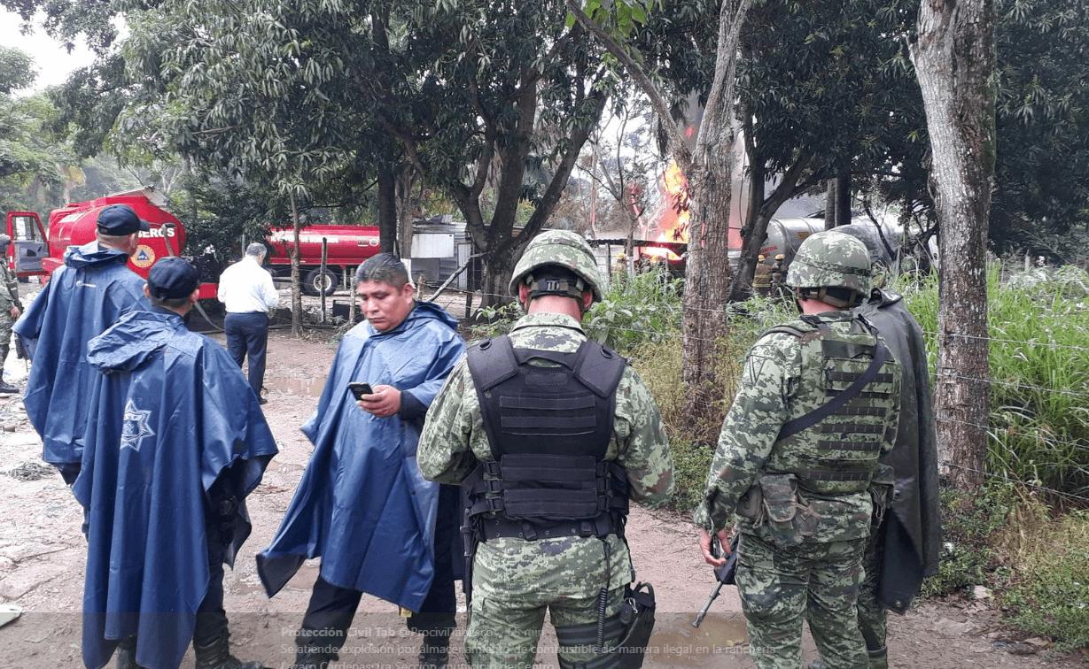 Se registra explosión por almacenamiento ilegal de combustible en Tabasco